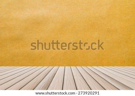 brown paper wall and wooden floor - room interior wallpaper frame exterior panel timber material texture background - stock photo