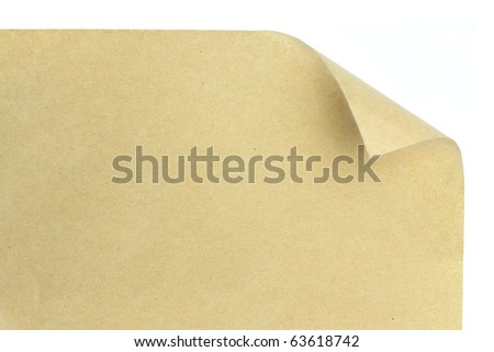 brown paper with corner curl - stock photo