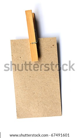 Brown Paper Wood Clip - stock photo