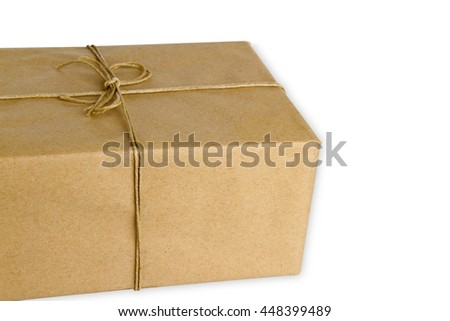 Brown Parcel isolated on white background - stock photo