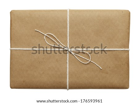 Brown Parcel With Thin Tied Rope Isolated On White Background.