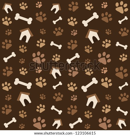 brown pattern with footprints and bones. Raster version - stock photo