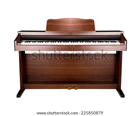 brown piano isolated - stock photo