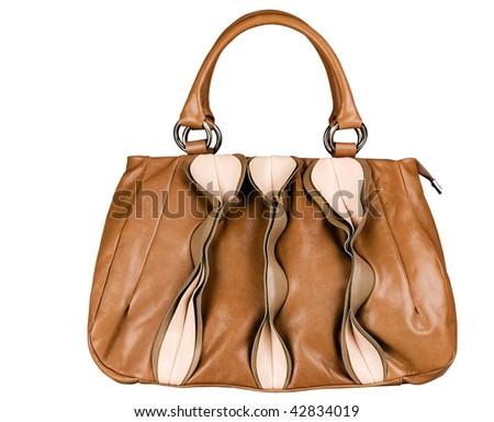Brown pink bag - stock photo