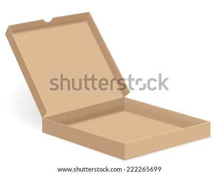 brown pizza box open illustration.