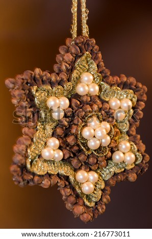 Brown poinsettia with white pearls and dried cloves against brown background