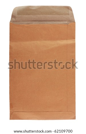 Brown Post Envelope Isolated On White Background - stock photo