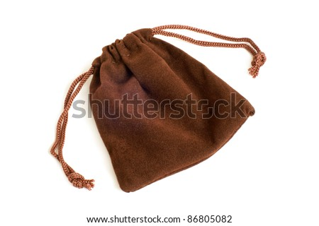 Brown pouch on a white background - stock photo