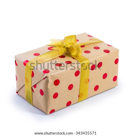 brown present box with red dot isolated on white - stock photo