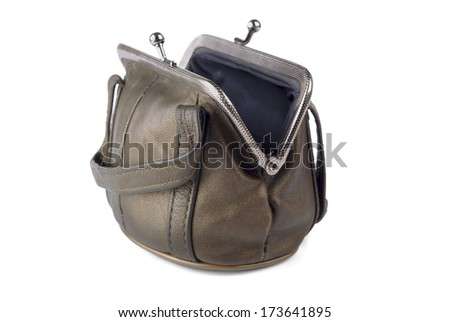 Brown purse with lock on a white background