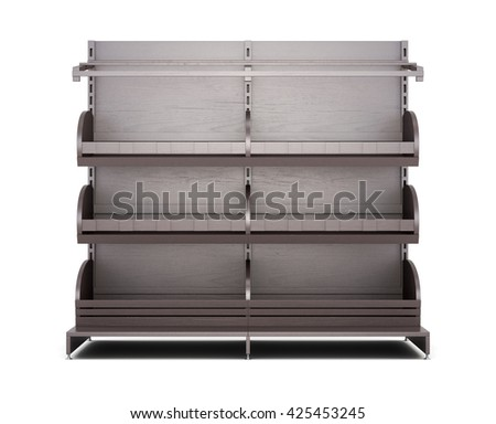 Brown rack for bakery products front view on white background. Shelves for bread. Shelf for baking. 3d rendering - stock photo