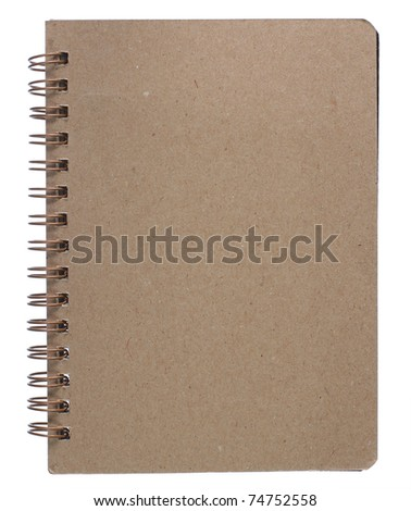 brown recycle paper notebook right page. isolated over white - stock photo