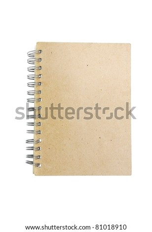 brown recycle paper notebook right page. isolated over white background