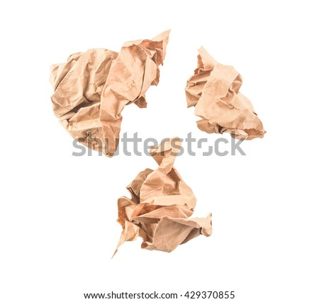 brown recycle trash paper on white background - stock photo