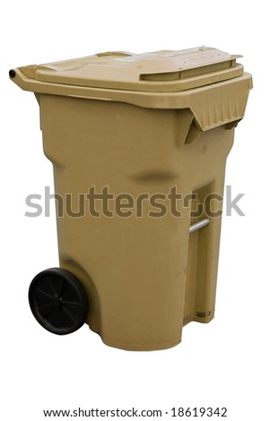 brown recycling container with clipping path - stock photo