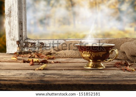 brown retro cup of hot drink  - stock photo
