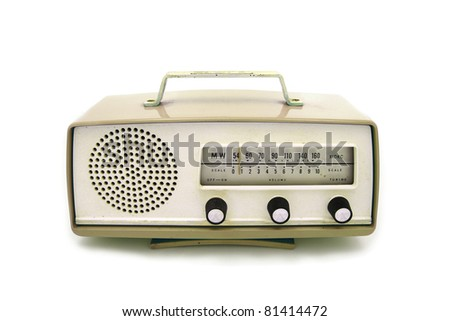 Brown  retro radio on  isolated white background