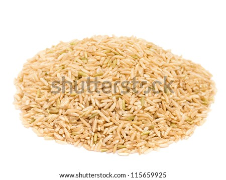 Brown rice isolated on white background - stock photo