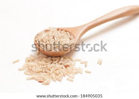Brown rice, Jasmine rice - stock photo