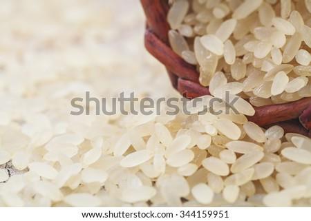 brown rice macro - stock photo