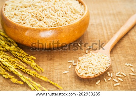 Brown rice on wooden spoon and bowl - stock photo
