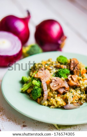 Brown rice with vegetables(onions,mushrooms,broccoli) and tofu - stock photo