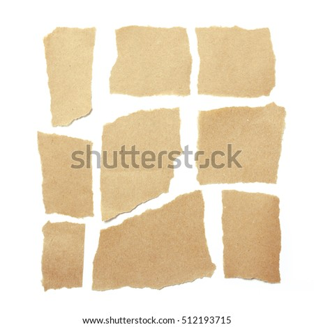 brown ripped pieces of paper on white background