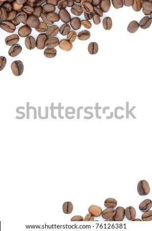 Brown roasted coffee beans isolated on white background - stock photo