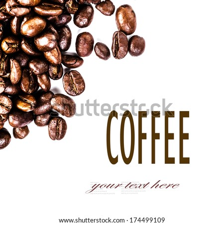 Brown roasted coffee beans isolated on white background.  Arabic roasted  coffee ingredient.  Fragrant fried coffee beans macro. - stock photo