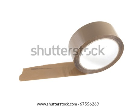 Brown roll tape on a white background.