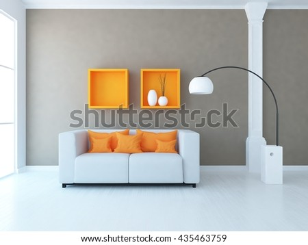 Brown room with sofa and orange decor. Living room interior. Scandinavian interior. 3d illustration - stock photo