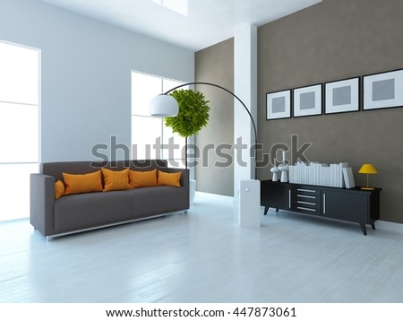 Brown room with sofa. Living room interior. Scandinavian interior. 3d illustration - stock photo