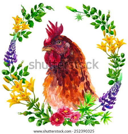 Brown rooster placed in a flower frame, isolated on a white background - stock photo