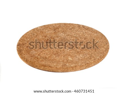 Brown Round Cork Coaster Isolated on White Background
