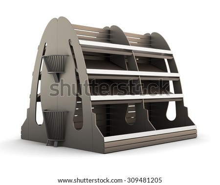 Brown row of supermarket shelves for bread isolated on white background. 3d.