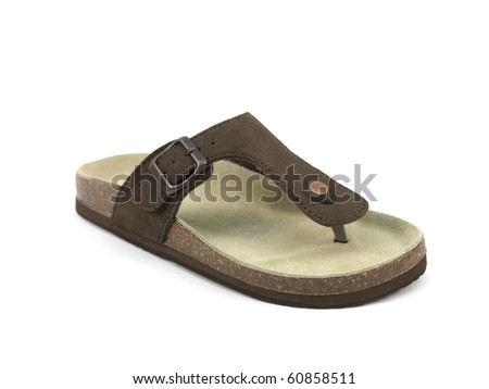 Brown sandals isolated against a white background