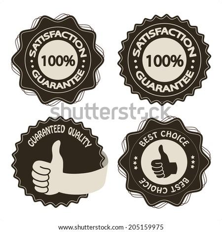 brown satisfaction guarantee labels - stock photo