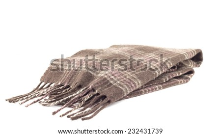 Brown scarf on a white background - stock photo