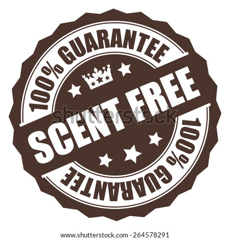 Brown Scent Free 100% Guarantee Badge, Banner, Sign, Tag, Label, Sticker or Icon Isolated on White Background - stock photo