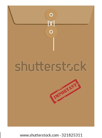Brown sealed postal envelope template with red rubber stamp important raster isolated on white  - stock photo