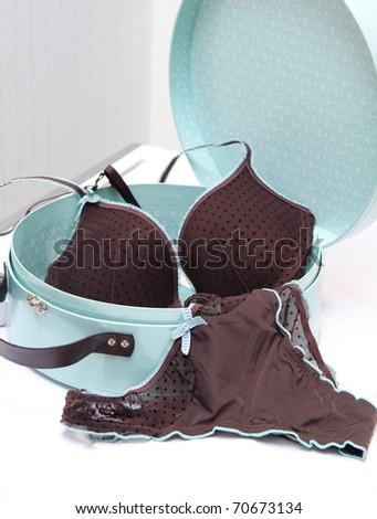 Brown seductive lingerie in blue present box - stock photo