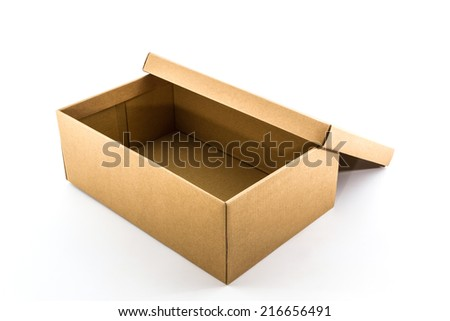 Brown shoe box on white background with clipping path. For shoes, electronic device and other products.