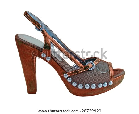 brown shoe for high heels with a riveting