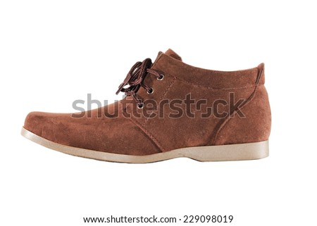 brown shoe isolated on white background. - stock photo