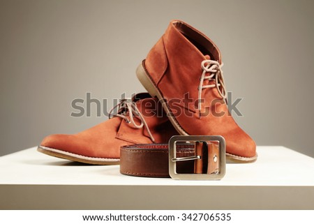brown shoes and belt. fashion men set objects - stock photo