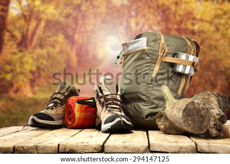 brown shoes backpack and autumn space  - stock photo