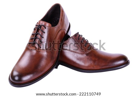 Brown shoes for men business style on white