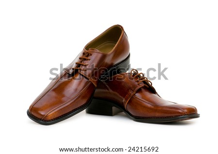 Brown shoes isolated on the white background - stock photo