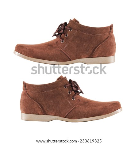 brown shoes on white background. - stock photo