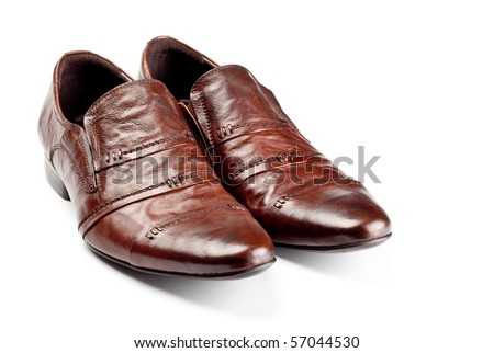 brown shoes pair - stock photo